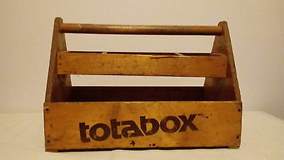 Old Vintage Antique Wooden Carpenter's Tool Box Carrying Tote Caddy Totabox