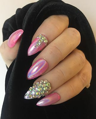 Hand Painted false nails STILETTO full Cover Pink Holographic Stick On Uk