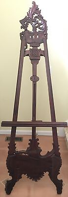 Antique hand crafted mahogany easel, 7 foot tall