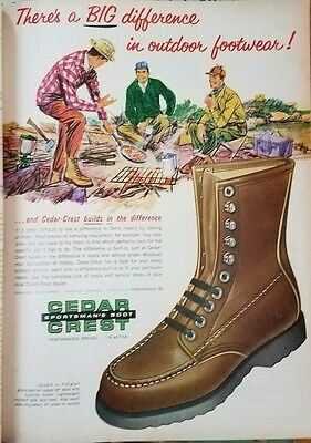 1967 CEDAR CREST SPORTSMAN'S BOOT Original Vintage Advertising CAMPING