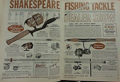 1961 SHAKESPEARE FISHING TACKLE Original Vintage Dealer Show Advertising DBL Ad