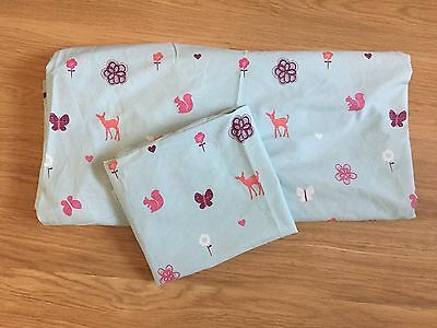 Girls Next Single Fitted Sheet And Pillowcase Woodland Design Hearts Butterflies