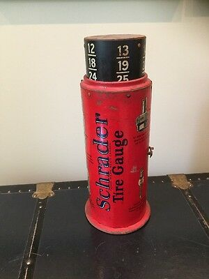 Schrader Tire Gauge Display Vintage 1930's Tin, Original Advertising Cabinet