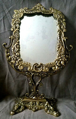 Antique Victorian Brass Frame Standable VANITY Table Top Makeup Mirror