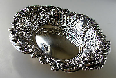 Exquisite Art Nouveau Solid Sterling Silver Trinket Tray London Hallmarked