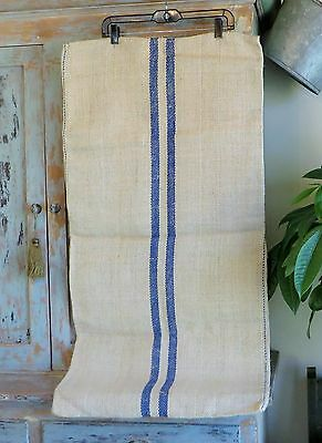Vintage Antique Grain Sack Hemp Linen Double Stripe Blue European Feed Sack