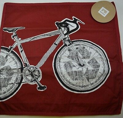 "Pottery Barn Teen Bike Cool Factor Pillow Cover 18"" Red Bicycle  #236"