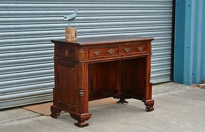 Solid Mango Wood Console Table Desk With Drawers And Leather Top.