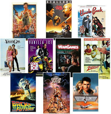 80's Party Poster set Valley Girl Vanilla Ice Top Gun Back to Future Uncle Buck