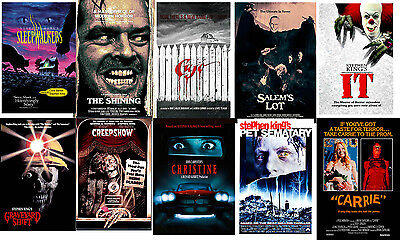 Retro Horror Movie Posters Stephen King IT Carrie Cujo Shining