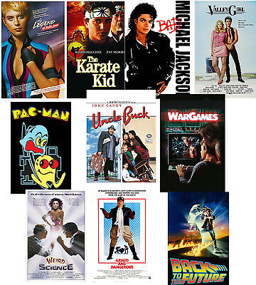 80's Party Poster Set of 10 Karate Kid Valley Girl Pac Man War Games M Jackson