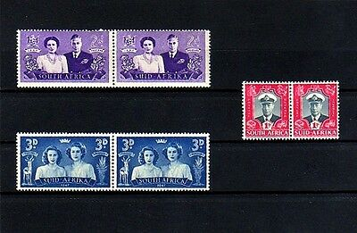 South Africa - 1947 - Kg Vi - Royal Visit Issue - 3 X Mint - Mnh Pairs!
