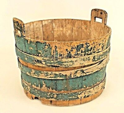 American Country Rustic Style Antique Blue Painted Pine Large Water Bucket