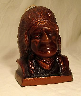 Vintage Wax Candle Chief Joseph Native American Indian Carved Figure Unused 4.75