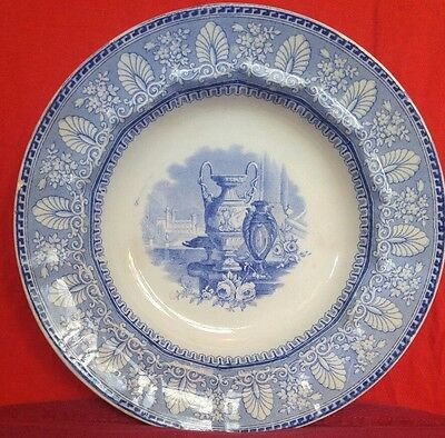 Staffordshire Pearlware Bowl Soup Plate Anthemion Border Classical Vase 1840+