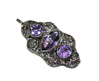 Antique 14K Gold Amethyst Brooch/Pendant, Ornate Victorian/Edwardian c1920s