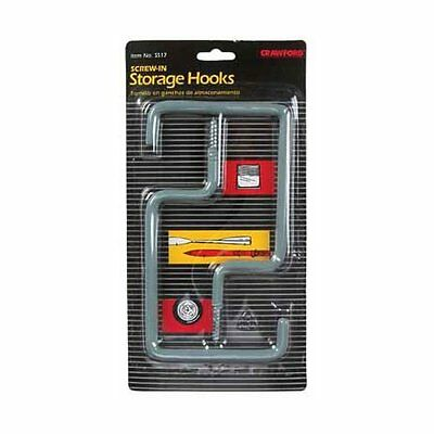 Crawford SS17 Screw-In Storage Hooks Gray Carded/2