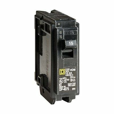 Square D HOM115CP1235 Single Pole Circuit Breaker, 15 Amp