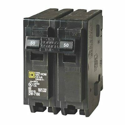 Square D HOM250CP Homeline Double Pole Circuit Breaker, 50 Amp, 2""