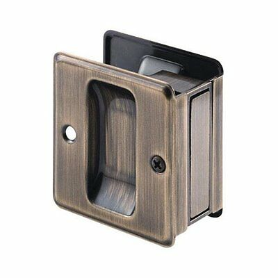 "Prime Line Prime-Line 163505 Pocket Door Mortise Pull 1-3/8"", Antique Brass"