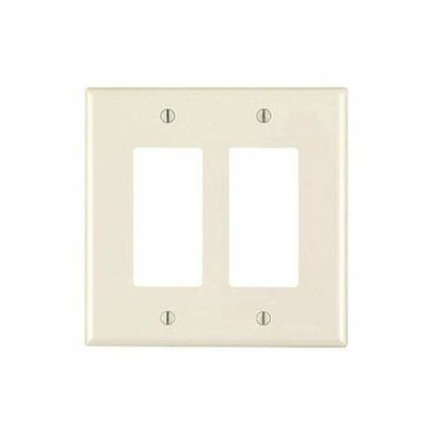 Leviton 911-PJ262-00T Decora Receptacle Wallplate, 2 Gang, Light Almond