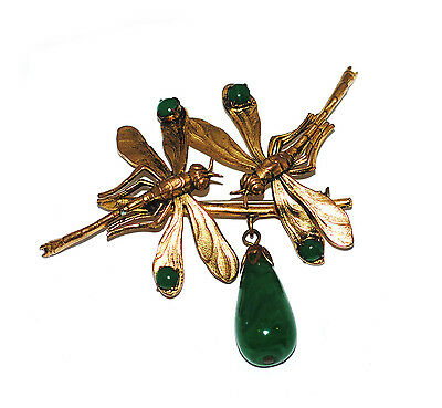 Fab 30s French Art Nouveau Dragonfly Brooch, Antique Green Art Glass Vtg Insect