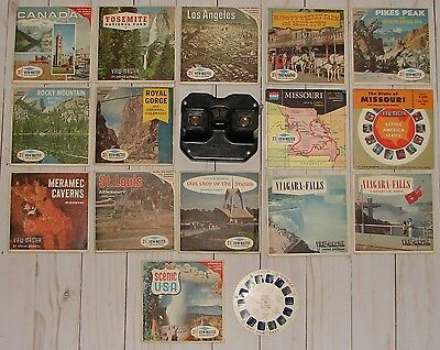 Vintage Sawyer's Viewmaster Viewer w/ 46 Stereo Picture Reels (15pks of 3 & 1)