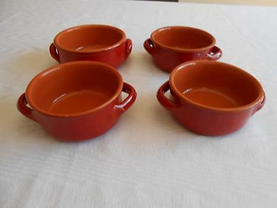 4 De Silva Italy Red Speckled Rustic Terracotta Pottery Soup Bowls