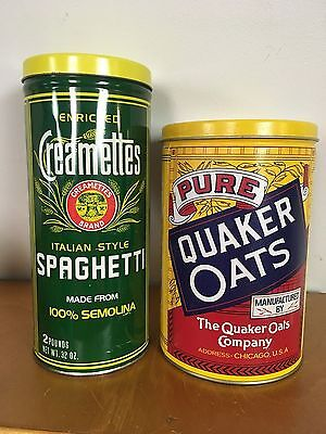 Vintage Quaker Oats Tin Can & Creamettes Spaghetti Cans--Used