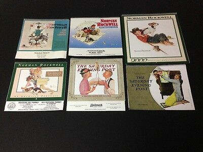 Lot of 6 Norman Rockwell Appointment Calendars (Unused) 1992/2000/2010/2014