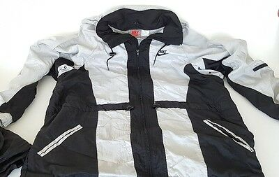 VINTAGE L NIKE WINDBREAKER JACKET Full-Zip HOOD & PANTS RN#56323 BLACK TRACKSUIT