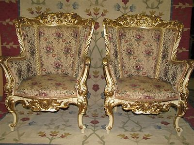 Pair of Spectacular c. 1900 Cream & GIlt French Rococo Chairs Fabulous Condition