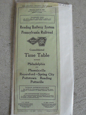Vintage 1938 Reading Railway System Timetable with Map Phila AC