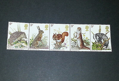 1977 England Wildlife series -Small Mammals- MNH One strip of 5 stamps