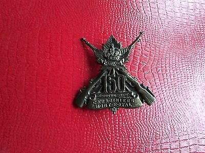 WWl CEF  Canadian 150th Battalion Carabiniers Mont Royal Cap Badge Montreal