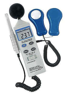 """PeakTech """"4 in 1 Multifunction Environment Meter with Lux Meter, Sound Level and"""