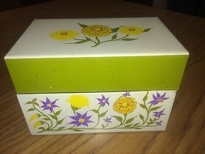 Vintage Floral Olive Green Metal Recipe Box Syndicate Mfg. Co.