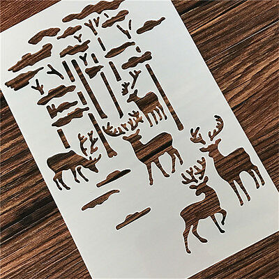 2 Pcs Packed Forest Deers Cookie Cake Stencil Decorate Mold Fondant Biscuit Tool