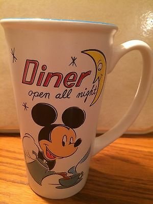 """Disney MICKEY MOUSE """"Diner Open All Night"""" Latte Coffee Mug Cup; no chips/cracks"""