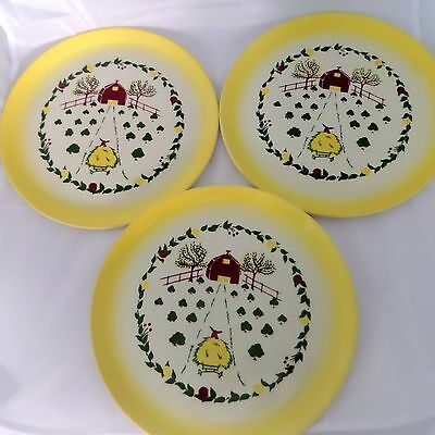 Vintage Brock California Farmhouse Yellow Set of 3 Dinner Plates 11""