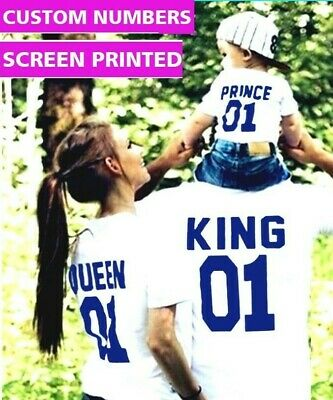 King and Queen Prince Couple matching Cute T-shirts Two Sides Print Street Punk