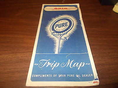 1948 Pure Oil OHIO Vintage Road Map