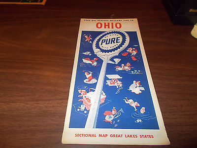 1952 Pure Oil OHIO Vintage Road Map / 52A