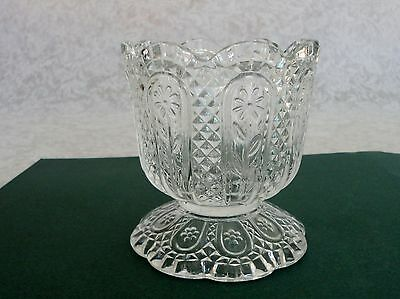 Vintage Avon Clear Glass Flower Footed Candy Dish Vase