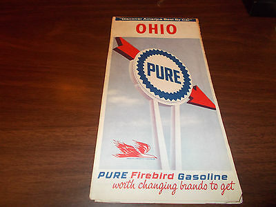 1966 Pure Oil OHIO Vintage Road Map