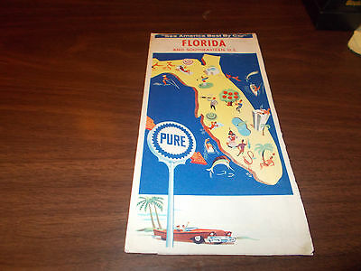 1964 Pure Oil Florida Vintage Road Map