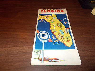 1961 Pure Oil Florida Vintage Road Map / 61A