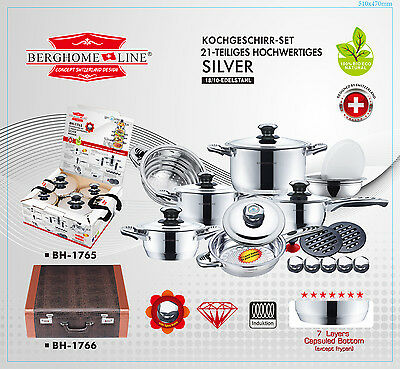 NEW - 21 Piece Berghome Line BH-1765 18/10  Stainless Steel Cookware Set - $2704