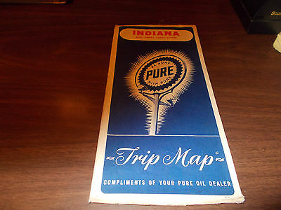 1946 Pure Oil Indiana Vintage Road Map