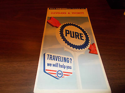 1962 Pure Oil Cleveland and Vicinity Vintage Road Map / 62A